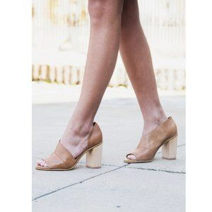 "1. State Tan Block Heels Open Toe ""Amble"" Sz 8.5"